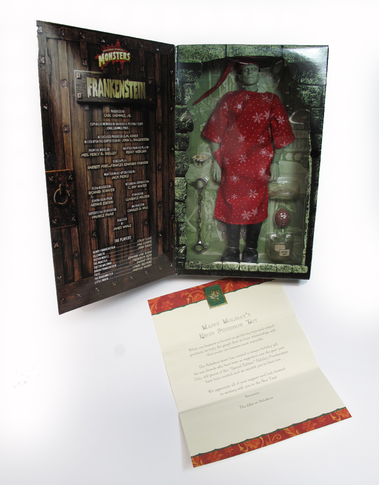 "Frankenstein 12"" Figure Ultra Rare Christmas Edition with Letter by Sideshow FREE US SHIPPING"