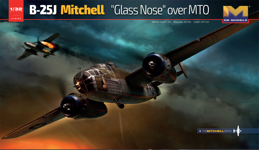 "B-25J Mitchell ""Glass Nose"" over MTO 1/32 Scale Model Kit by HK Models"
