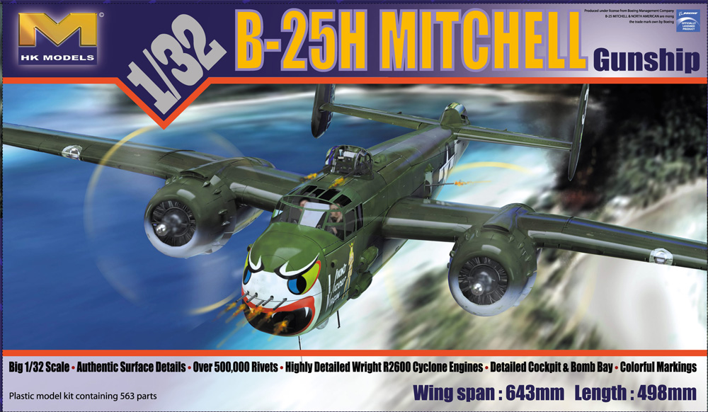 B-25H Mitchell Gunship 1/32 Scale Model Kit by HK Models