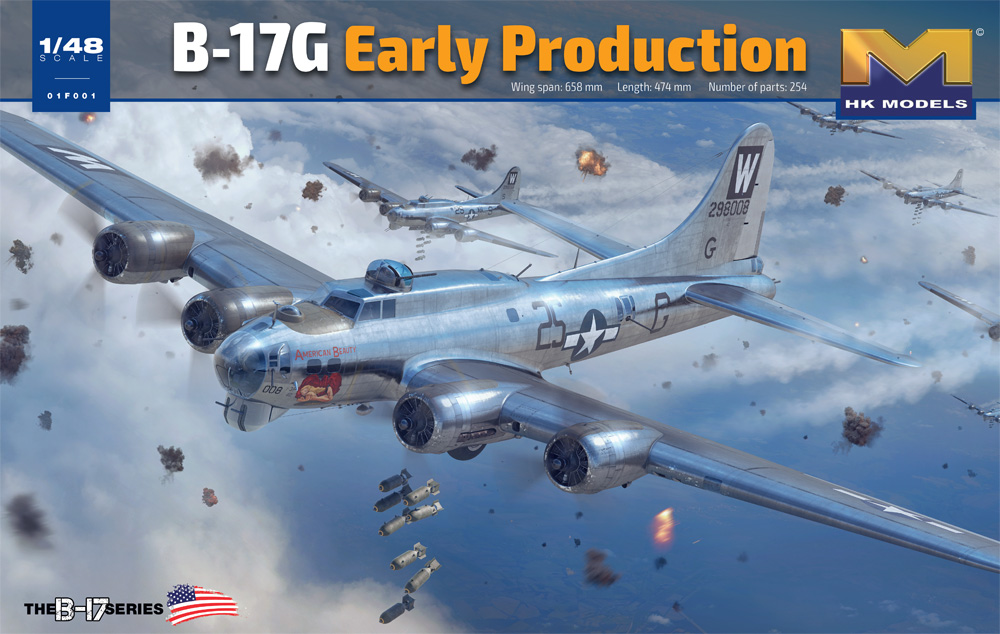 B-17G Flying Fortress Early Production 1/48 Scale Model Kit By HK Models