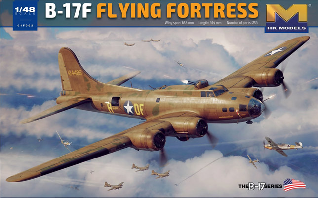 "B-17F USAF Flying Fortress ""Memphis Belle"" 1/48 Scale Model Kit by HK Models"