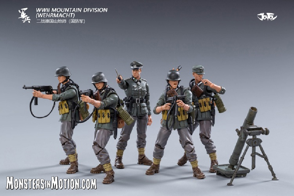 WWII German Mountain Division Wehrmacht Soldiers 1/18 Scale Set of 5 Figures
