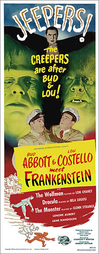 Abbott and Costello Meet Frankenstein Repro Insert Poster 14X36