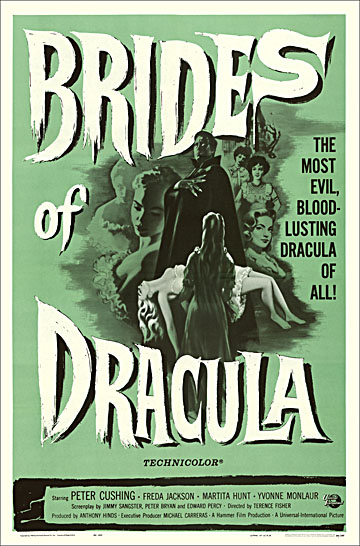 Brides of Dracula 1960 Reproduction Poster 27X41 Hammer Films