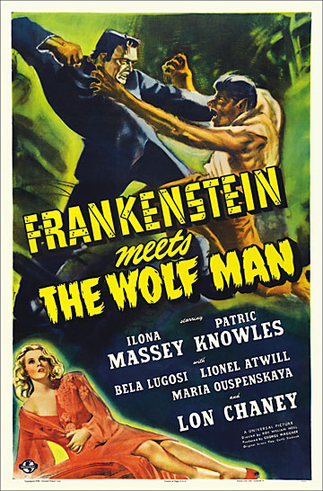 Frankenstein Meets the Wolf Man 1943 Reproduction Poster 27x41
