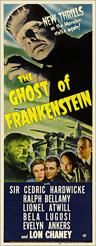 Ghost of Frankenstein Lon Chaney 1942 Repro Insert Poster 14X36