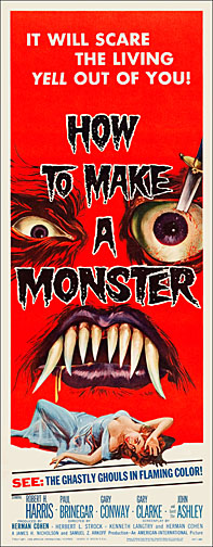 How to Make a Monster 1958 Repro Insert Movie Poster 14X36