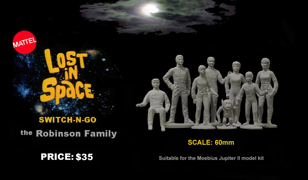 Lost In Space Switch-N-Go Robinson Family Resin Cast Remco / Mattel Reproduction Figure Model Kit