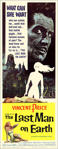 Last Man on Earth 1964 Vincent Price Repro Insert Poster 14X36