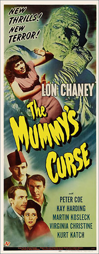 Mummy's Curse Lon Chaney 1945 Repro Insert Movie Poster 14X36