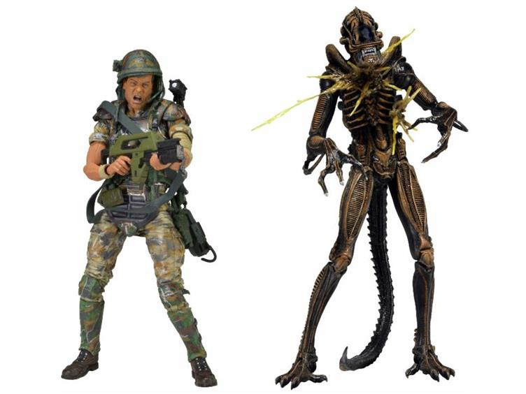 "Aliens 7"" Figure 2 Pack Helmeted Hudson vs Battle Damaged Brown Warrior"