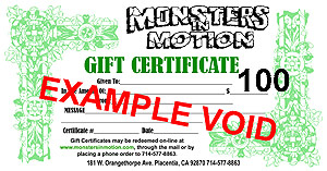 $100.00 Gift Certificate for Monsters In Motion