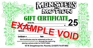 $75.00 Gift Certificate for Monsters In Motion