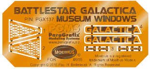 Battlestar Galactica 2003 Galactica Model Museum Windows Photoetch Set for Moebius