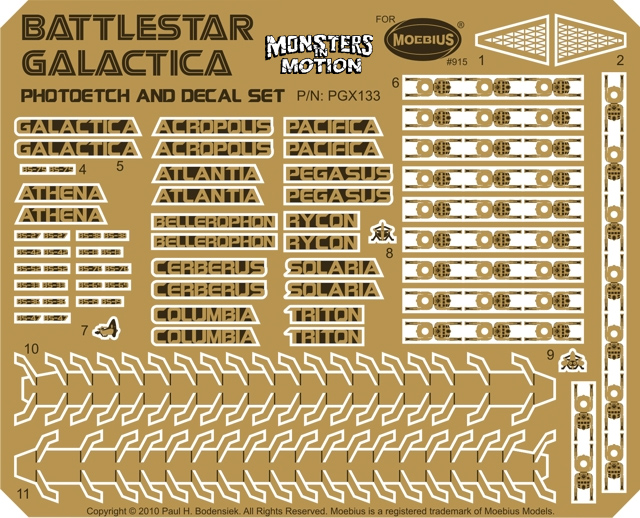 Battlestar Galactica 2003 Galactica Model Photoetch & Decal Set for Moebius