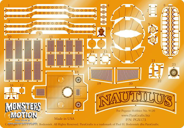 20,000 Leagues Under the Sea Nautilus 1/144 Photoetch Set for Pegasus Model Kit