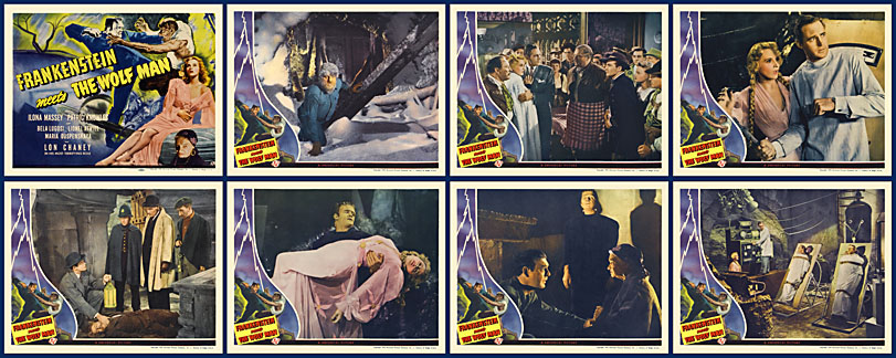 Frankenstein Meets The Wolf Man 1943 Lobby Card Set of 8
